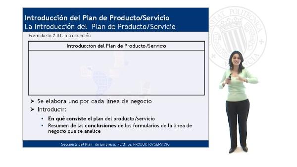 La Introducción del Plan de Producto/Servicio