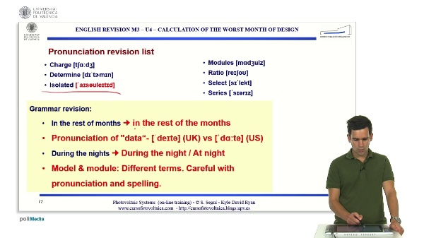 M3.U4.1. Calculation of the worst month of design. English Grammar / spelling revision