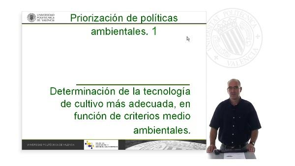 Determinación de la tecnología de cultivo más adecuada, en función de criterios medio ambientales