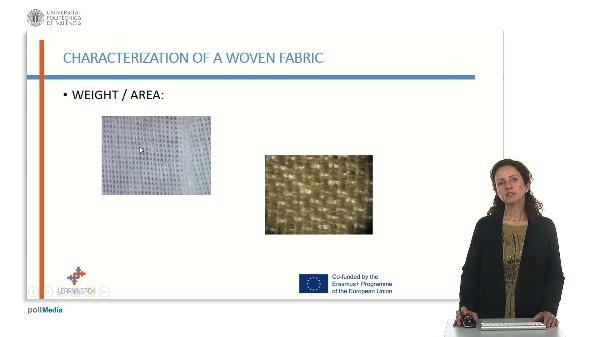 Characterization of fabrics. Weight / area