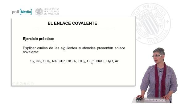 El enlace covalente. Ejercicio práctico