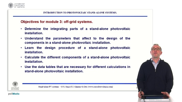 Off-grid photovoltaic installations. Introduction to PV stand-alone systems