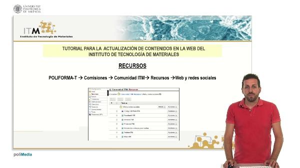 Tutorial para la actualizacion de contenidos en la web del Instituto de Tecnologia de Materiales
