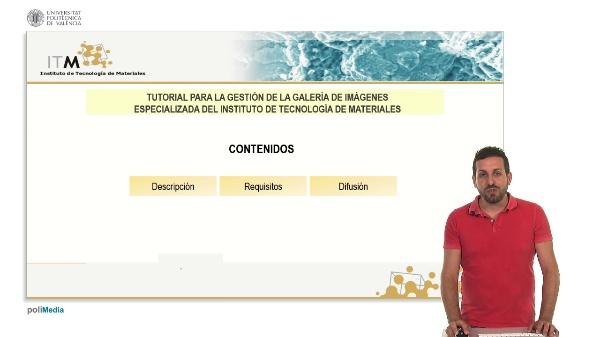 Tutorial para la gestion de la galeria de imagenes especializada del Instituto de Tecnologia de Materiales