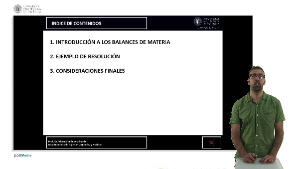 Procedimiento de resolución de balances de materia