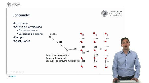 Diseño de una red ramificada con Epanet. Criterio de velocidad