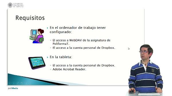 Corrección de exámenes y ejercicios en PDF del espacio compartido de PoliformaT desde una tableta Android accediendo por Dropbox.