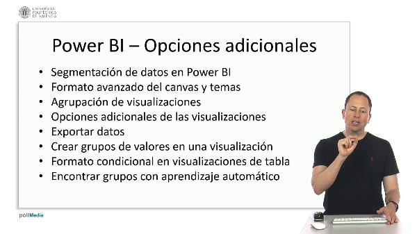 MOOC Power BI. Índice módulo opciones adicionales visualizaciones
