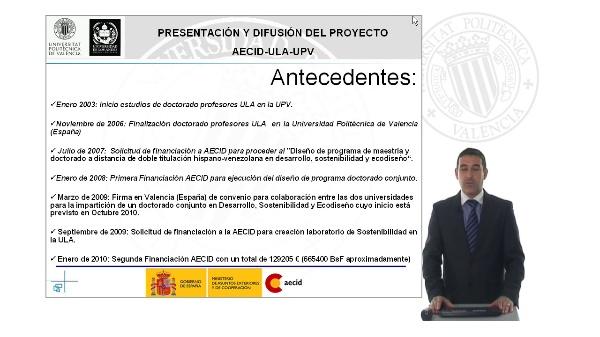 Presentación y difusión del proyecto AECID-ULA-UPV