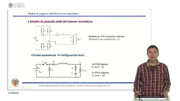 Modelo equivalente en pequeña señal del inversor monofásico. Aplicación del control modo corriente media.