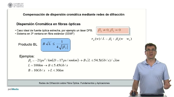 Compensacion de dispersion cromatica mediante redes de difraccion (II)