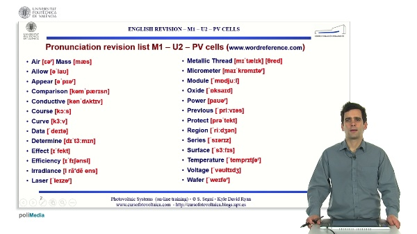 M1.U2. PV Cells. English Grammar / spelling revision.