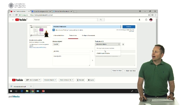 Opciones de traducción al subir un vídeo a Youtube