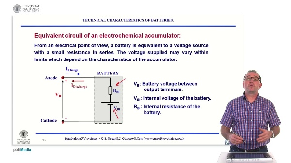 Off-grid photovoltaic installations. Technical characteristics of batteries: voltage