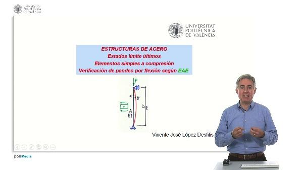 ESTRUCTURAS DE ACERO: Estados límite últimos. Elementos simples a compresión. Verificación de pandeo por flexión según EAE.