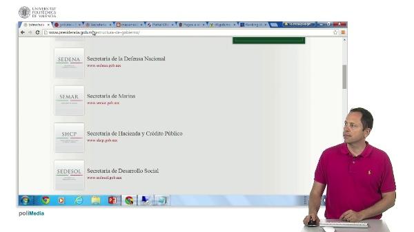 Presencia en internet de los estamentos de gobierno de Mejico