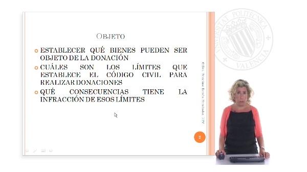 Objeto y límites de la donación