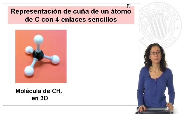 Representación de cuña de moléculas orgánicas