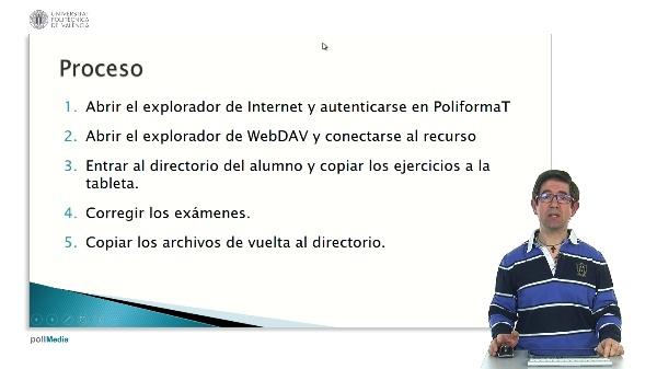 Corrección de exámenes y ejercicios en PDF del espacio compartido de PoliformaT desde una tableta Android accediendo por WebDAV.