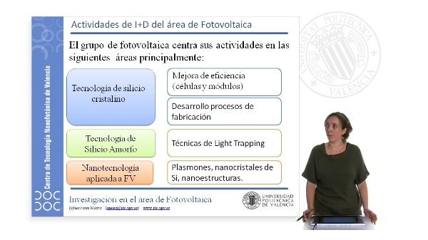 Actividades de I+D del área de Fotovoltaica