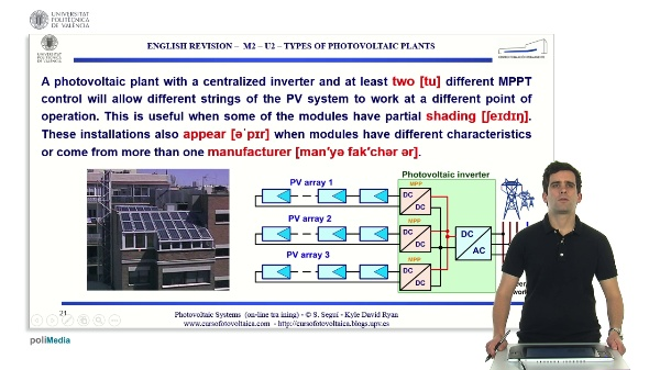 M2.U2. Types of photovoltaic plants in grid-tied PV systems. English Grammar / spelling revision
