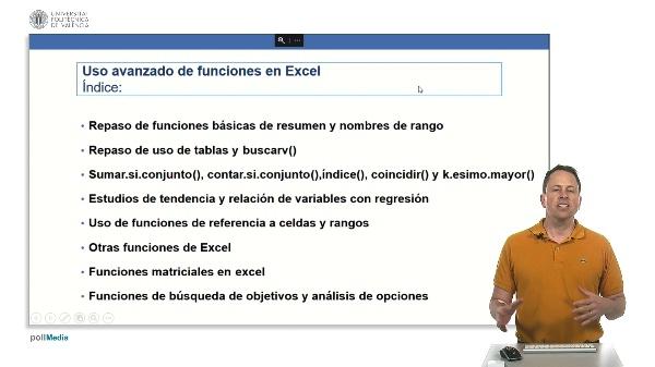 Curso avanzado Excel. Índice módulo de uso avanzado de funciones