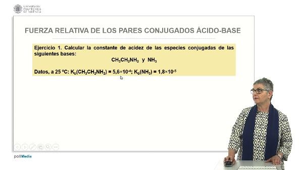Fuerza relativa de los pares conjugados ácido base (ejercicios prácticos)