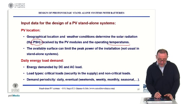 Off-grid photovoltaic installations. Starting the design of stand-alone photovoltaic systems