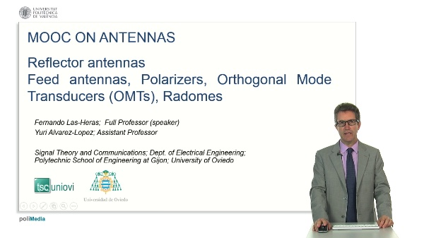 Reflector antennas. Feed antennas, Polarizers, Orthogonal Mode Transducers (OMTs), Radomes
