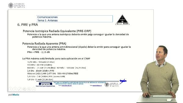 Master RPAS. Asignatura comunicaciones. Antenas, PIRE, PRA