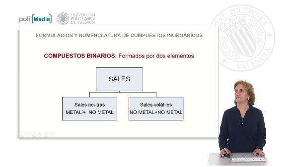 Compuestos binarios formados por dos elementos. Sales