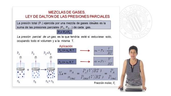 Mezcla de gases. Ley de Dalton de las presiones parciales