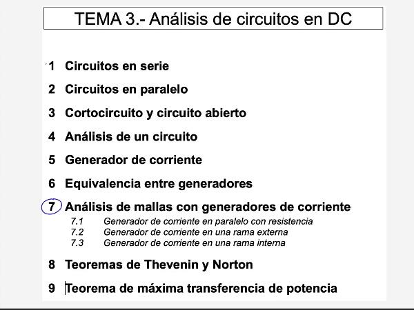 Teoría de Circuitos 1. Lección 3. 7.1.1 Análisis de mallas generador de corriente en paralelo con resistencia