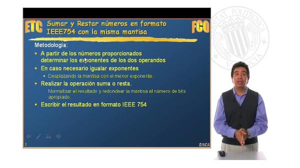 Operaciones en Coma Flotante: IEEE 754 exponentes iguales