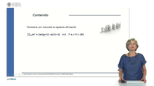 Demostración por inducción del valor de la suma de los n primeros términos de una progresión geométrica