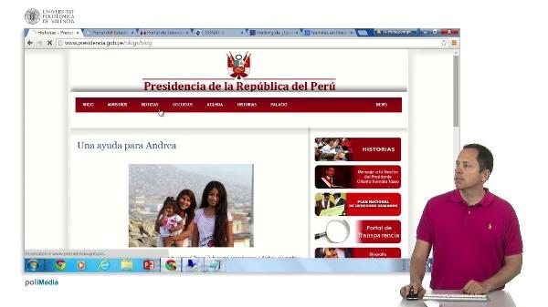 Presencia en internet de los estamentos de gobierno de Peru