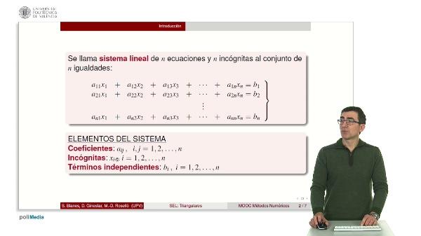 Resolución de sistemas lineales: Sistemas triangulares.