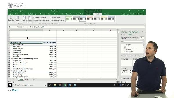Excel, tablas dinámicas, formato tabular
