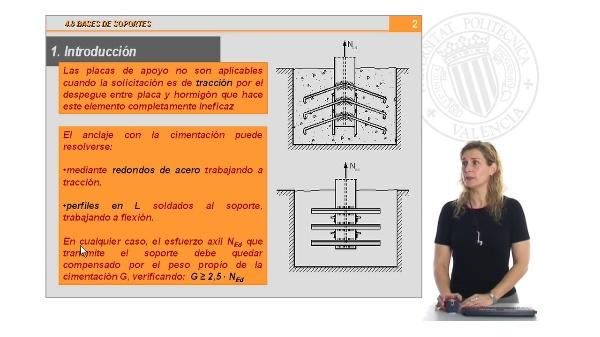 Diseño y cálculo de las bases de soportes en tracción