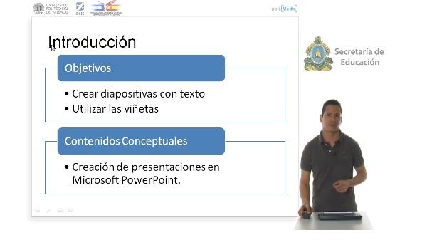 Creación de diapositivas con texto