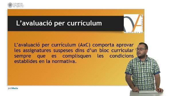 Avaluació per currículum DAUPV