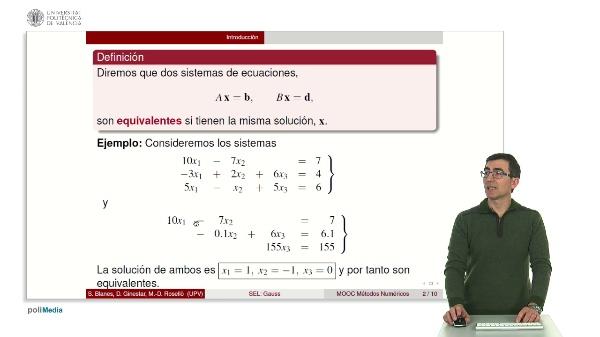 Resolución de sistemas lineales: Método de Gauss.