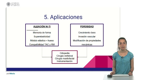 Aplicaciones y alternativas al NiTi poroso