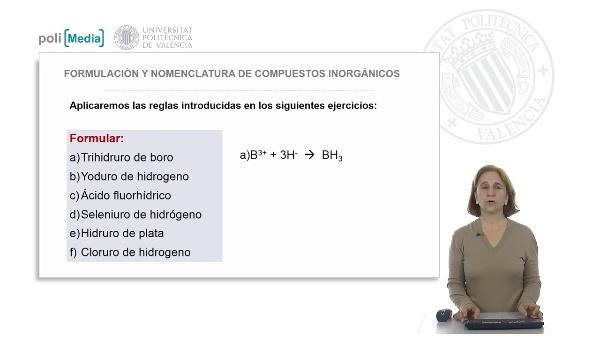 Compuestos binarios con hidrógeno. Ejercicio práctico