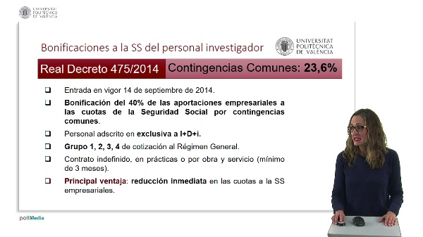 Bonificaciones a la Seguridad Social del Personal Investigador