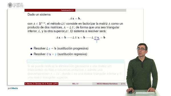 Resolución de sistemas lineales: Factorización LU.