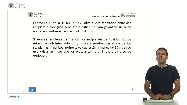 ITC MIE AQP-7: Determinación de la distancia entre instalaciones fijas de superficies y entre recipientes