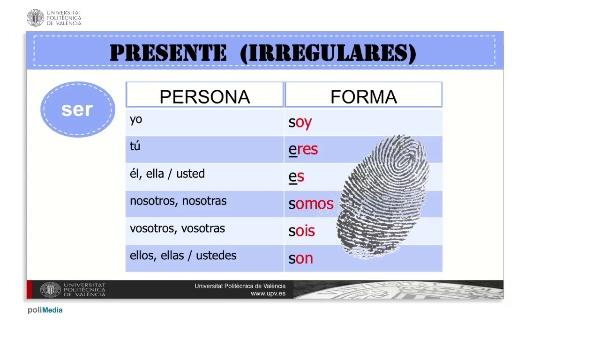Presente (irregulares). 'tener'