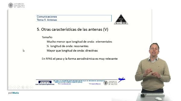 Master RPAS. Asignatura comunicaciones. Antenas, tamaño, PIRE, PRA