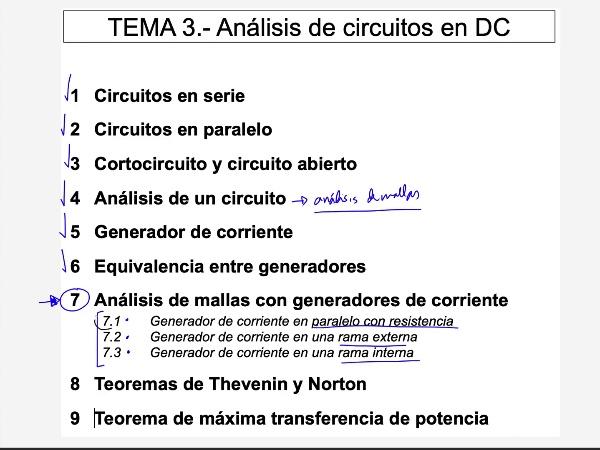 Teoría de Circuitos 1. Lección 3. 7.1.3 Análisis de mallas generador corriente en paralelo con resistencia ejercicio 2